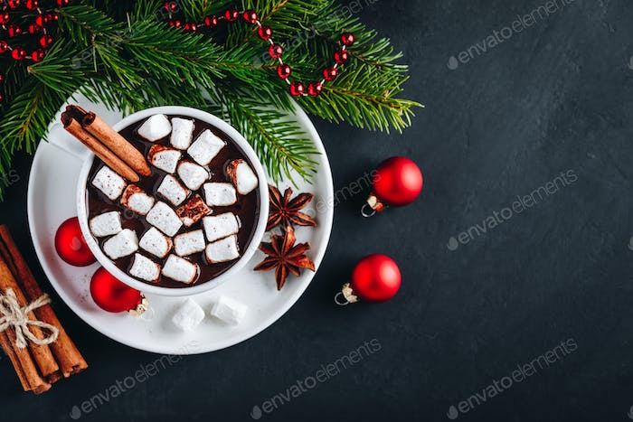 Ginger Cinnamon Hot Chocolate with marshmallows for Christmas Holidays.