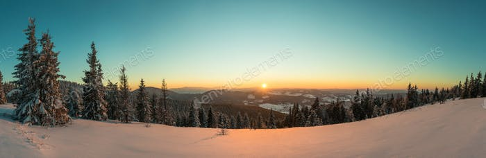 Top view of mesmerizing view of the ski slope
