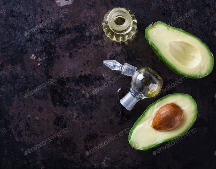 Avocado oil on a dark background