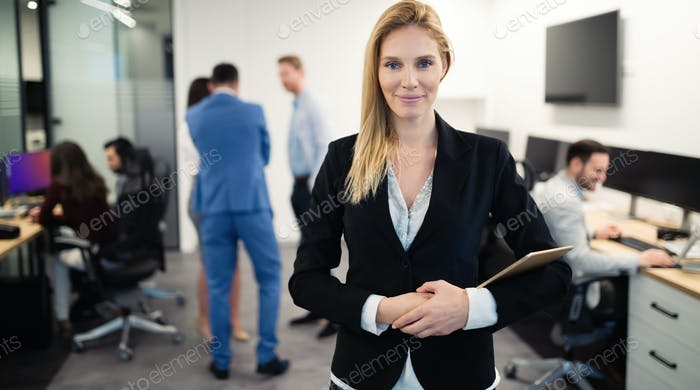 Business woman in officess representing company