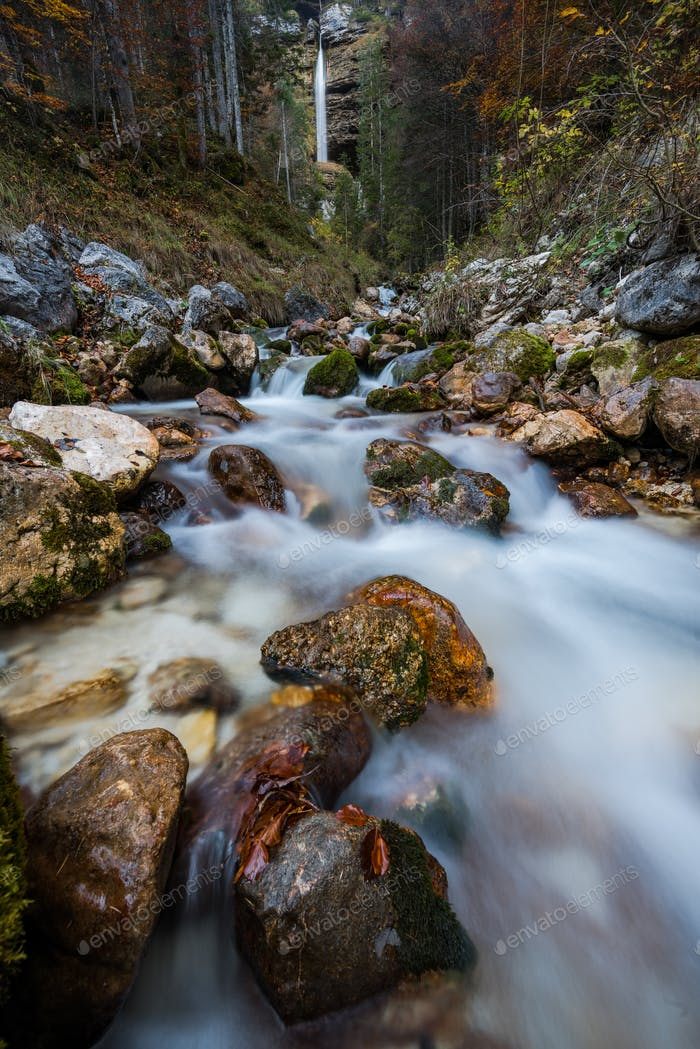 Pericnik waterfall in Slovenia Julian Alps, long exposure