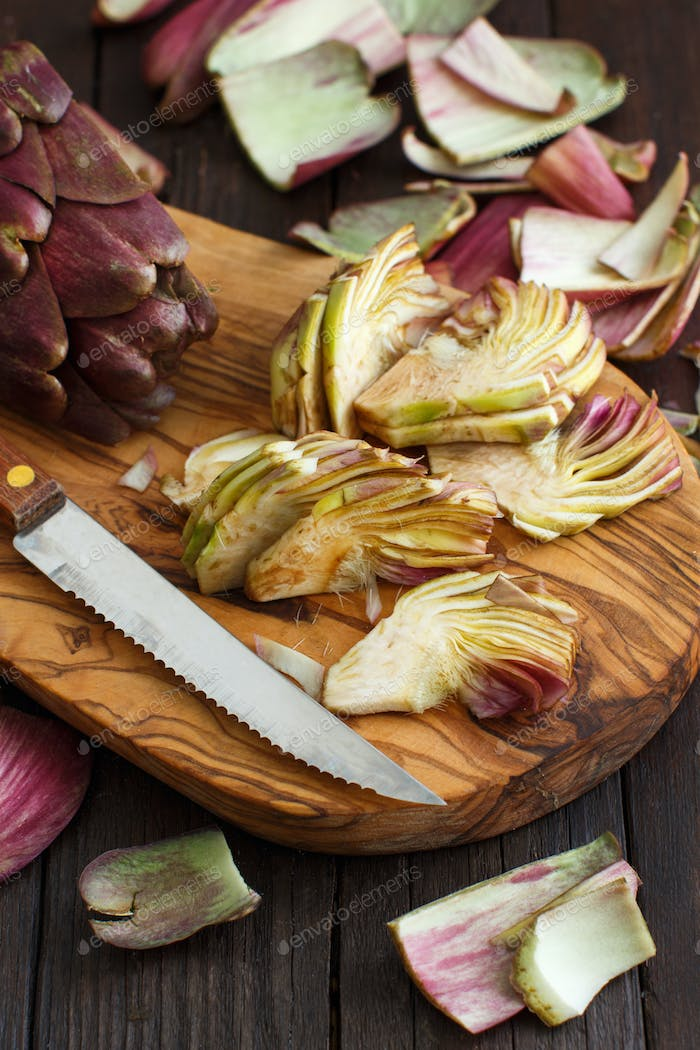 Roman Artichokes on a wooden board