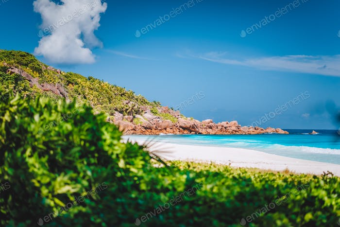 Petite Anse sandy tropical paradise beach on La Digue island, Seychelles. Holiday vacation travel