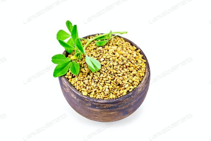 Fenugreek with leaf in bowl