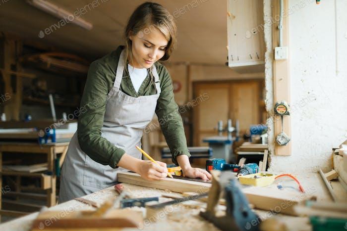 Working as carpenter