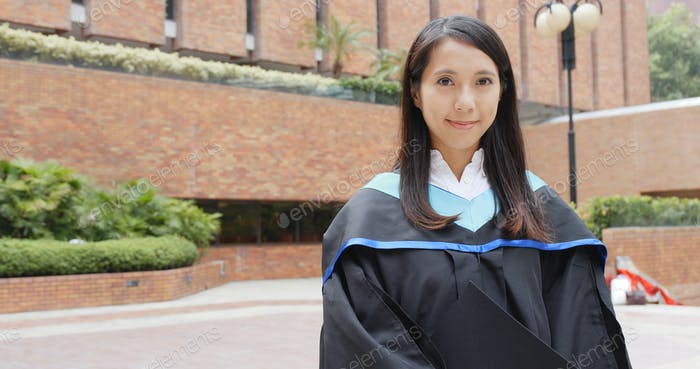 Asian woman graduated from university