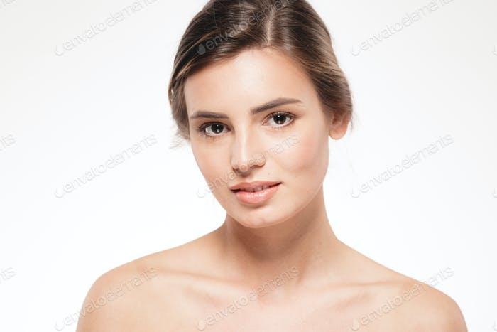 Blonde woman beauty portrait face looking camera isolated on white