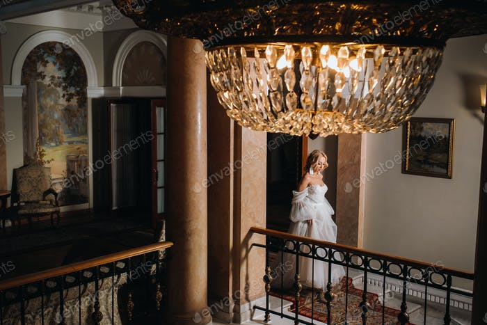 Portrait of a beautiful bride in the hall