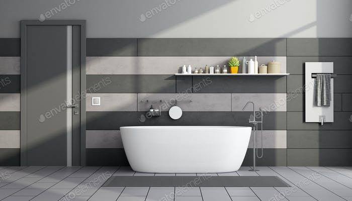 Minimalist black and gray bathroom