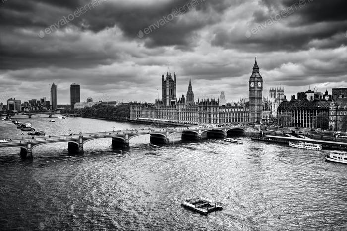 London, the UK. Big Ben, the Palace of Westminster in black and white