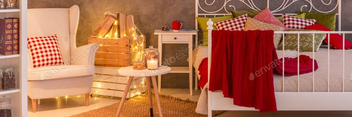 Spacious trendy bedroom
