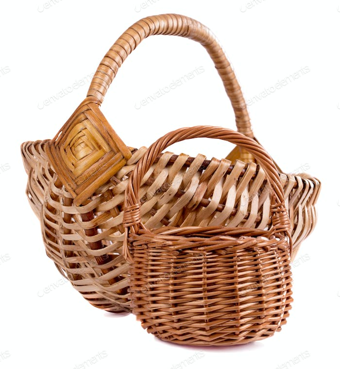 Two handmade basket isolated