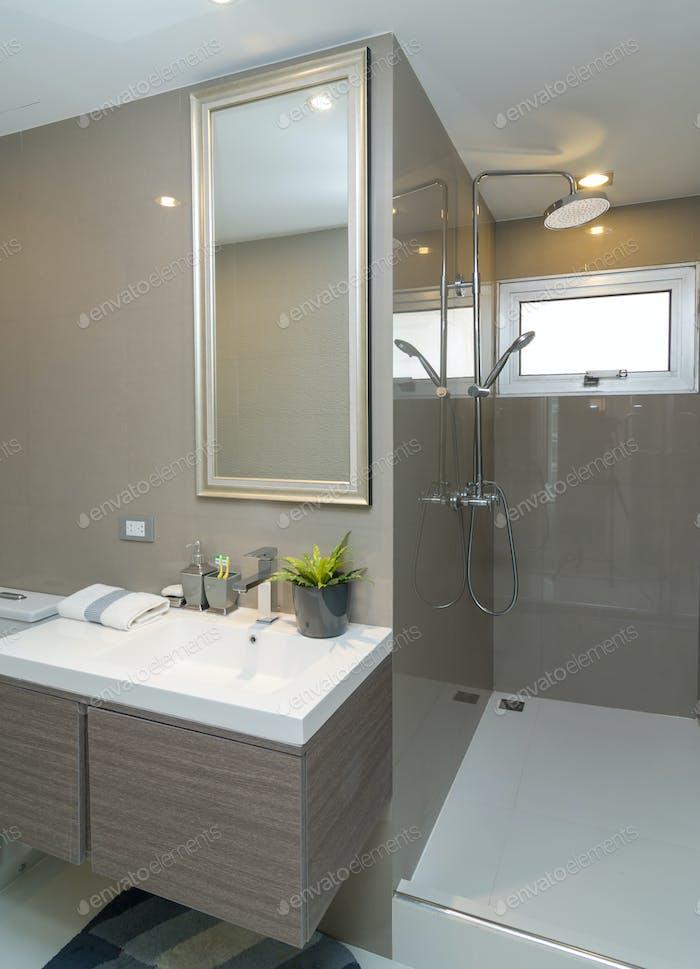 Luxury Interior bathtoom or toilet with worm light