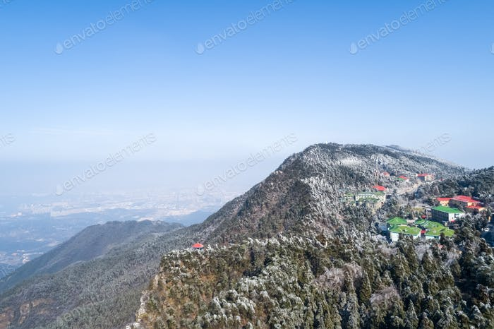 aerial view of lushan mountain in winter