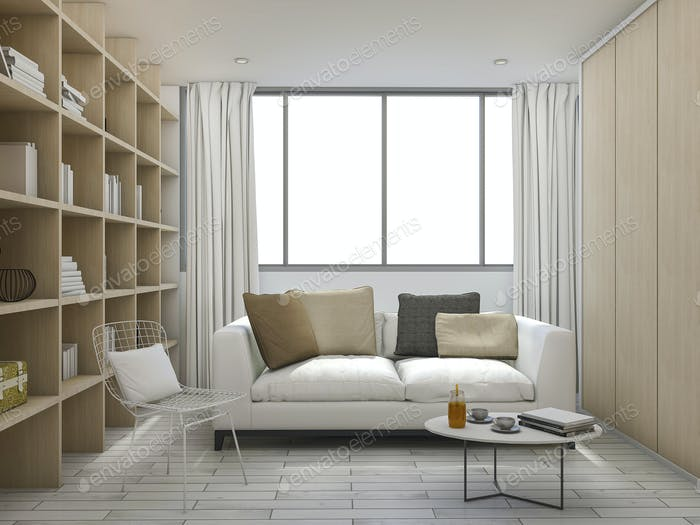 3d rendering cushion living room with bookshelf