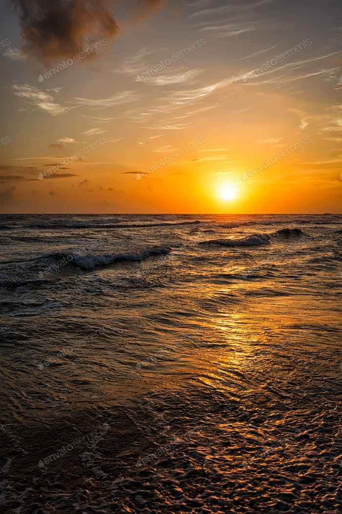 Ocean sunset with waves
