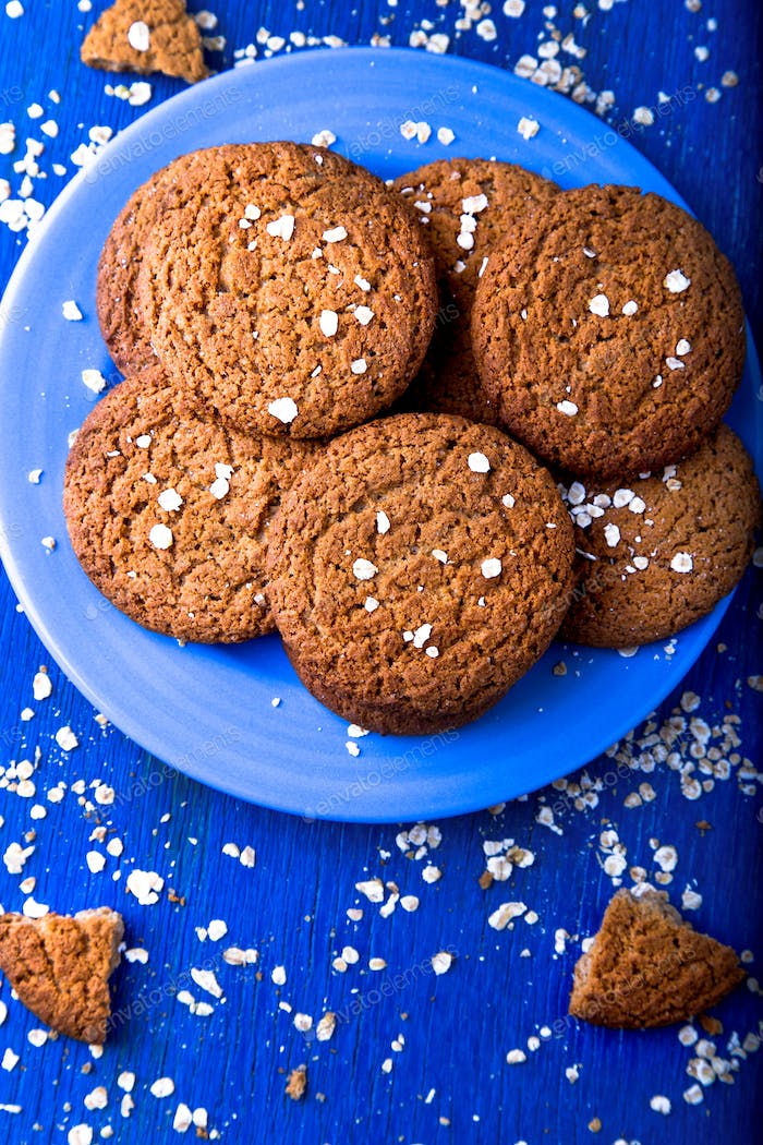 Oatmeal cookies on blue plate