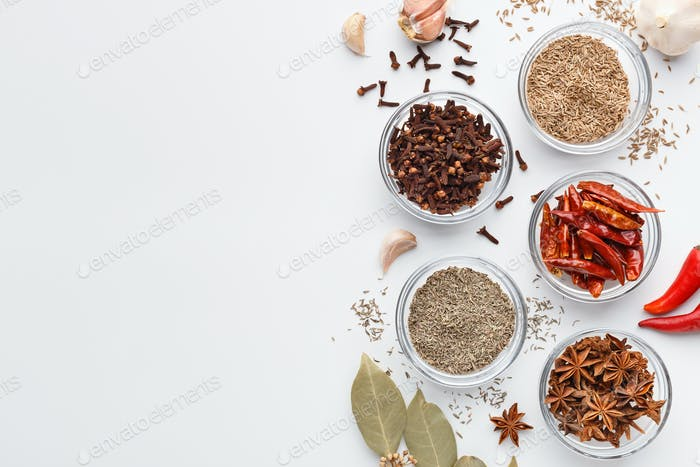 Set of spices, top view, mockup, copy space