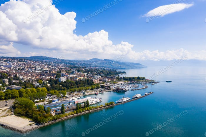 Aerial view of Ouchy waterfront in  Lausanne, Switzerland