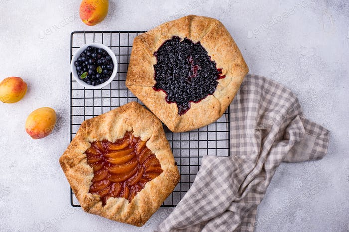 Sweet homemade galette pie with fruits