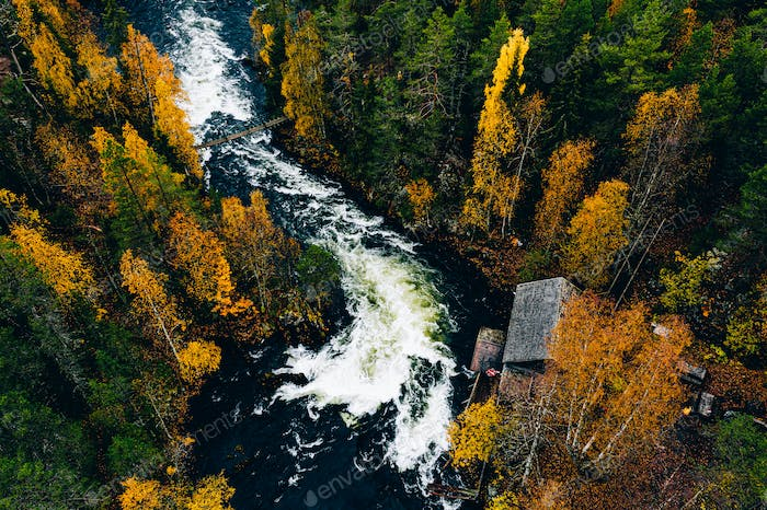 Aerial view of fast river with suspension foot bridge and wooden cabin in autumn forest.