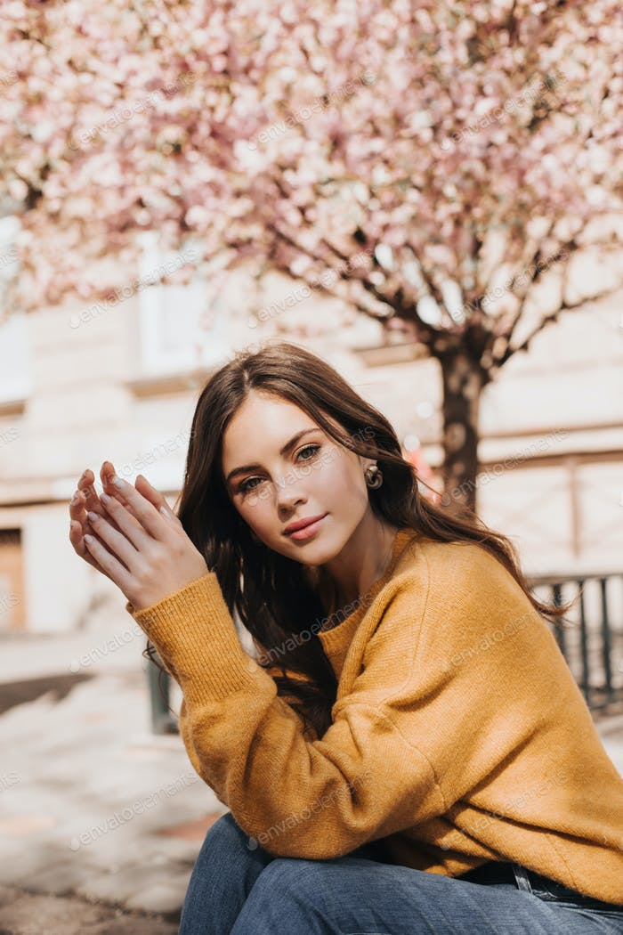 Beautiful girl in cashmere sweater looks into camera on background of sakura. Young brunette lady i