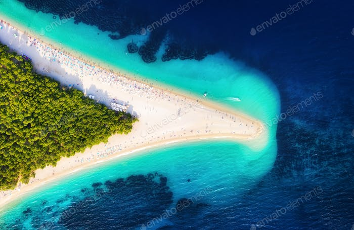 Zlatni rat beach, Hvar island, Croatia. Aerial landscape at the summer time