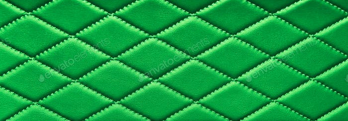 green stitched leather
