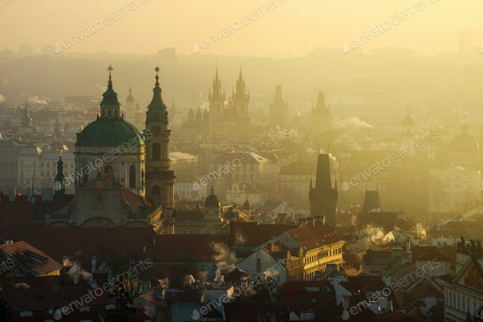 Amazing Prague foggy sunrise, Czech republic