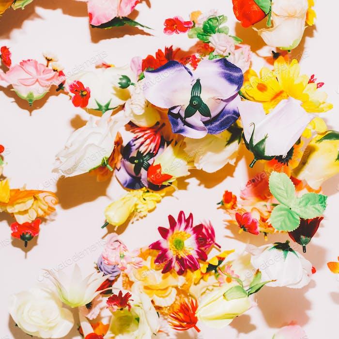 Flower chaotic background. Minimal Art