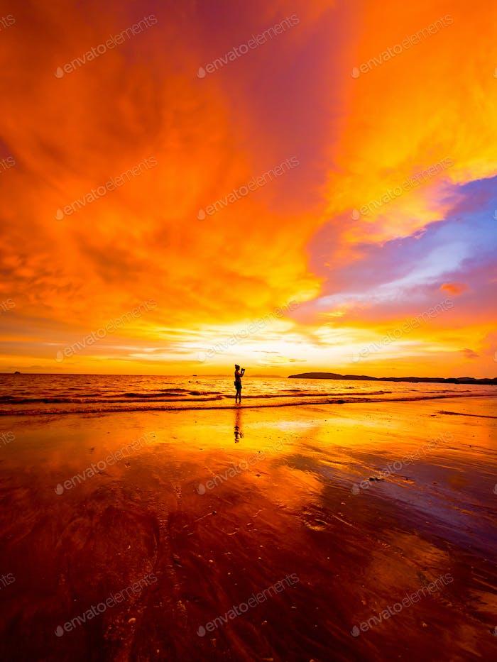 Tropical sunset on the beach. Ao-Nang. Krabi.