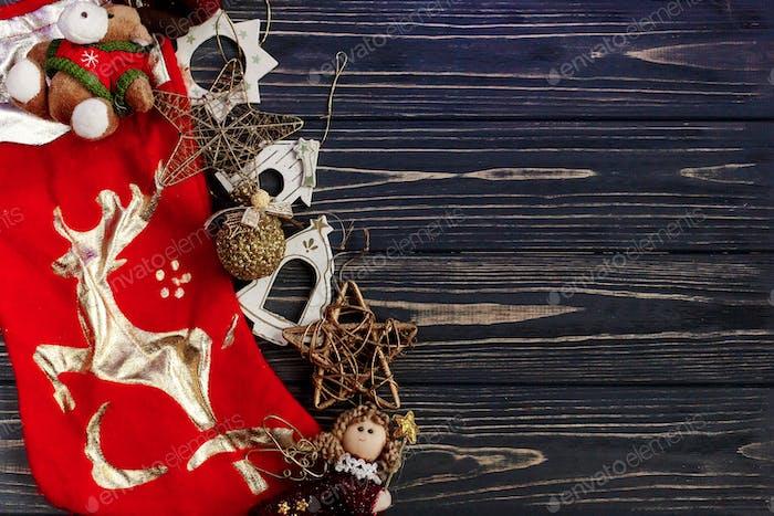 christmas golden red stockings