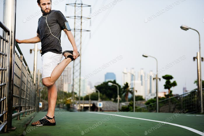 Sportman Stretching Exercise Healthy Lifestyle Concept