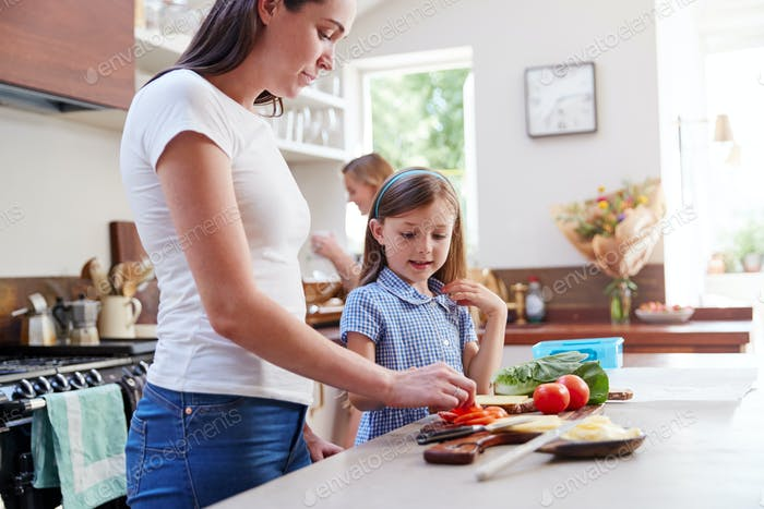 Same Sex Female Couple With Daughter Preparing School Lunchbox At Home Together