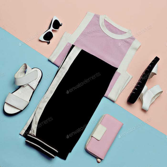 Flat lay fashion Summer outfit set: white sandals shoes, black s