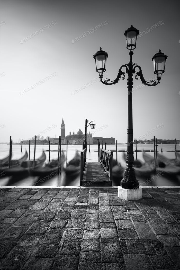 Gondolas near Saint Mark square with San Giorgio di Maggiore church, Venice, Italy, Europe
