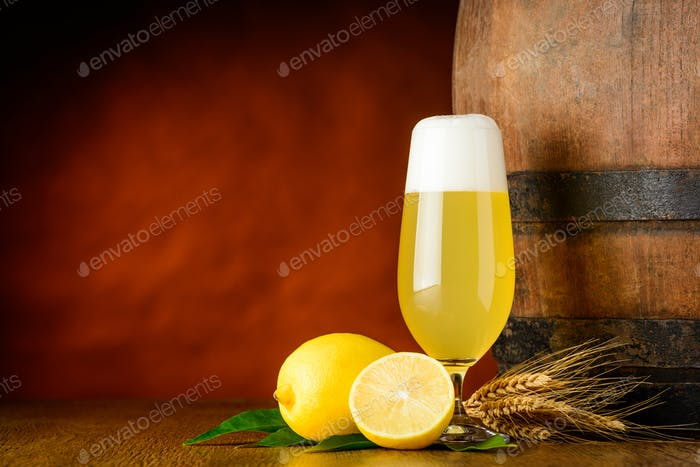 Radler Beer Glass and Lemon