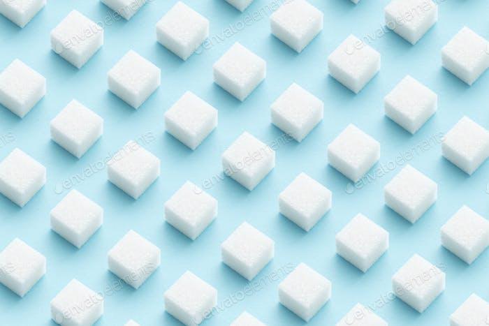 Patrón de cubos de azúcar sobre fondo azul claro.