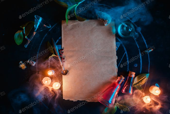Magical scroll template for ad or certificate. Blank parchment with candles and potions. Dark still