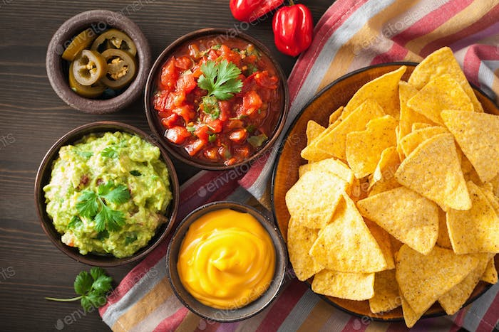 mexican nachos tortilla chips with guacamole, salsa and cheese d