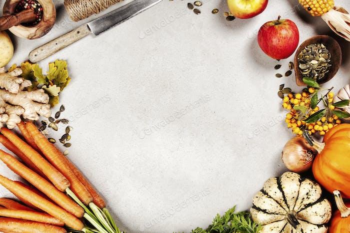 Gesundes Essen Kochen Hintergrund, Pflanzliche Zutaten., Kopierraum