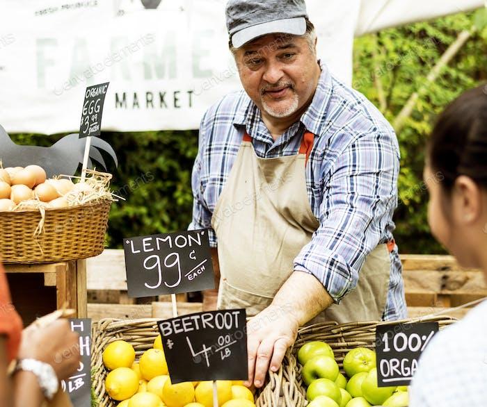 Man owner fresh gracery organic shop