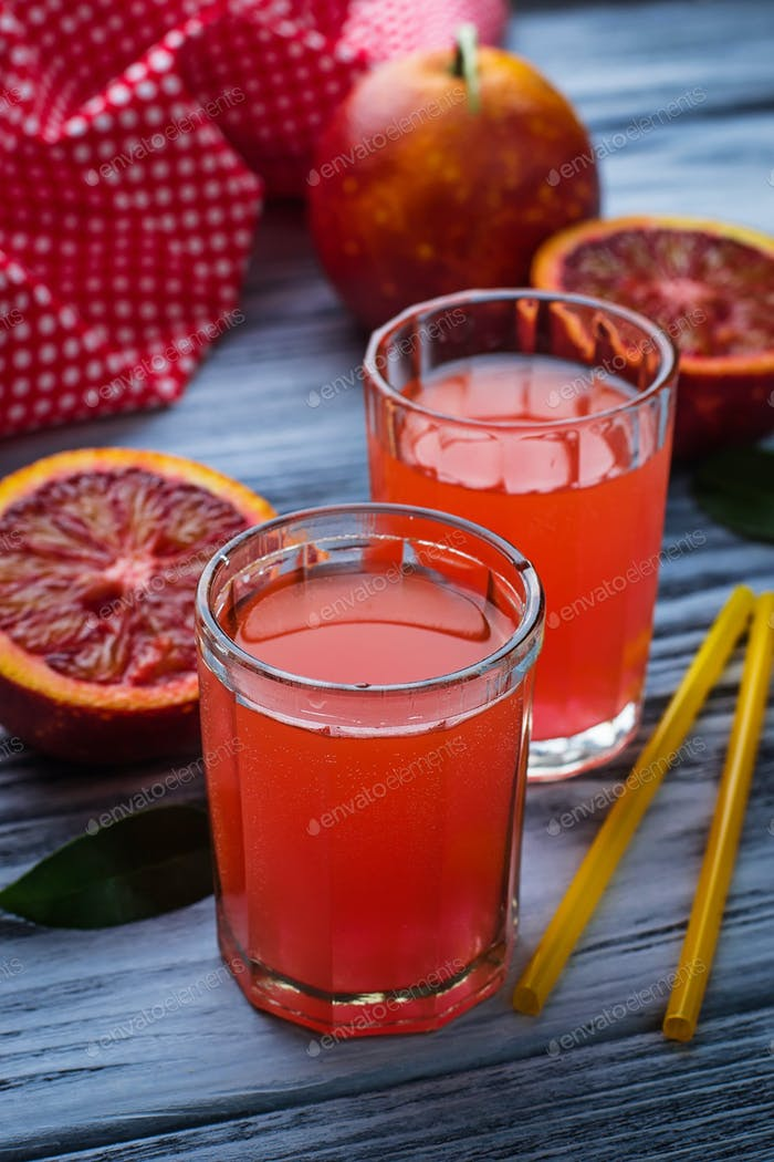 Glasses of fresh blood orange juice