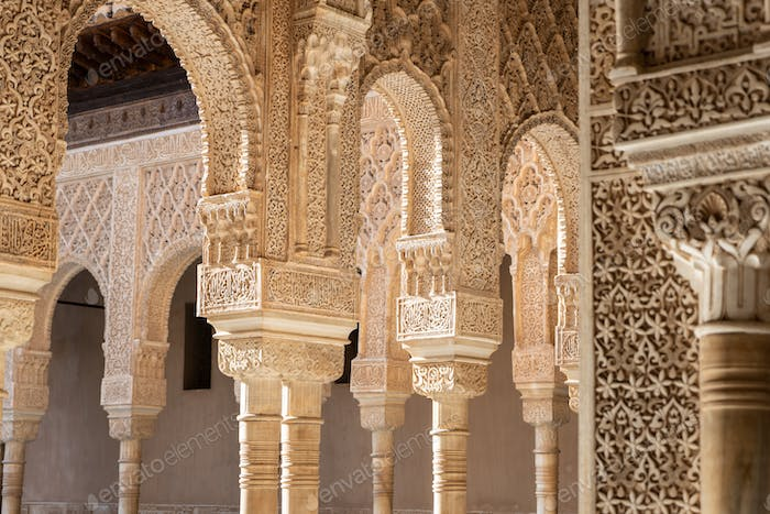 Columns of Court of the Lions at Alhambra of Granada