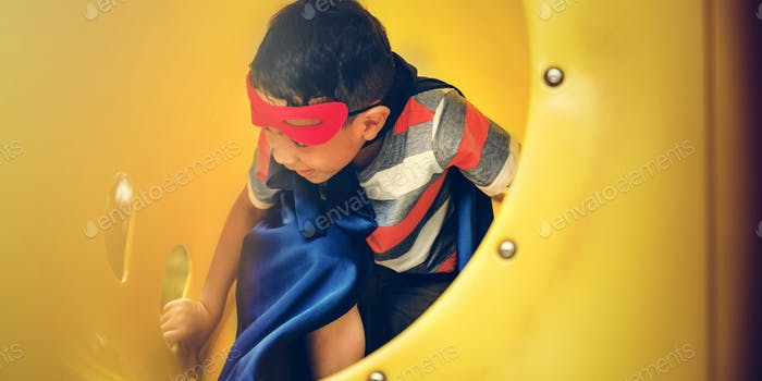Playground Yard Superhero Freedom Child Boy Concept