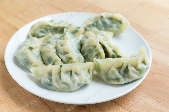 Steamed dumpling on plate