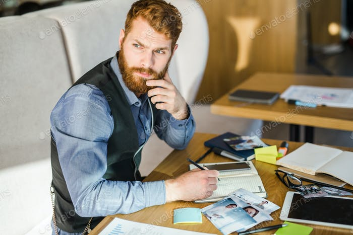 Pensive designer
