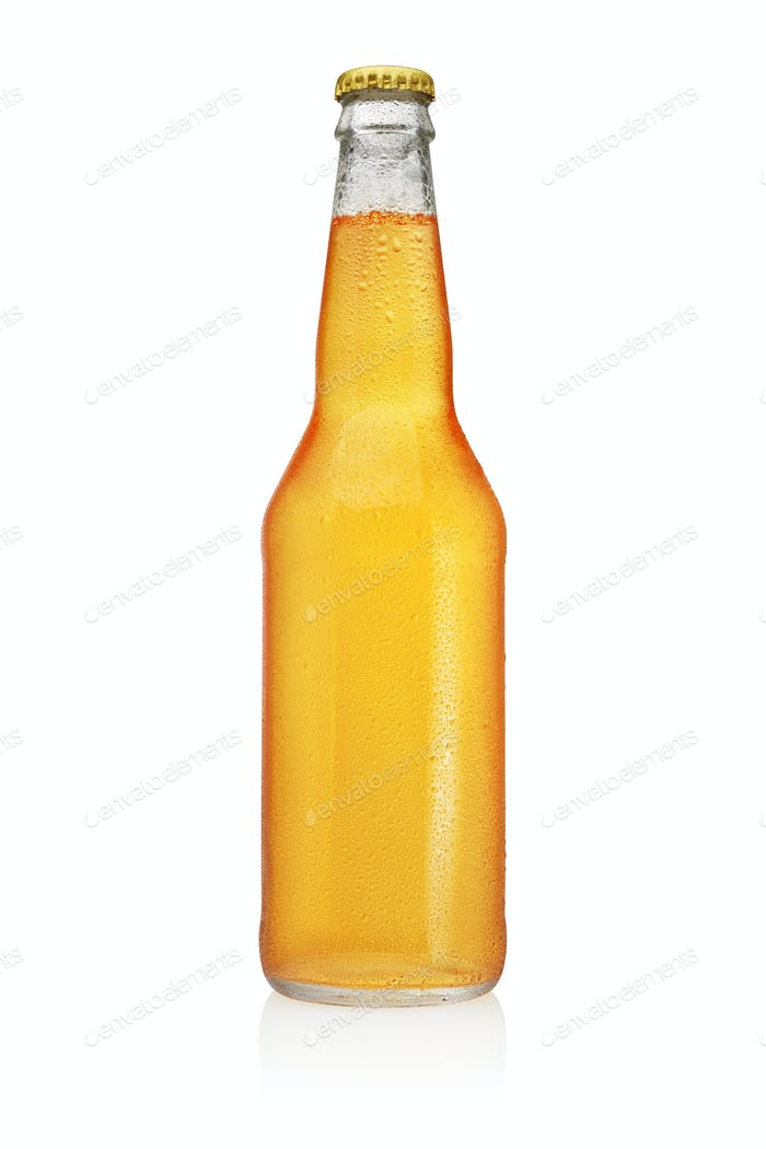 Longneck Beer bottle with water drops isolated on white background.