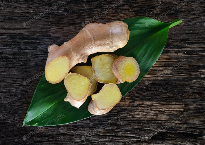 ginger root on wood