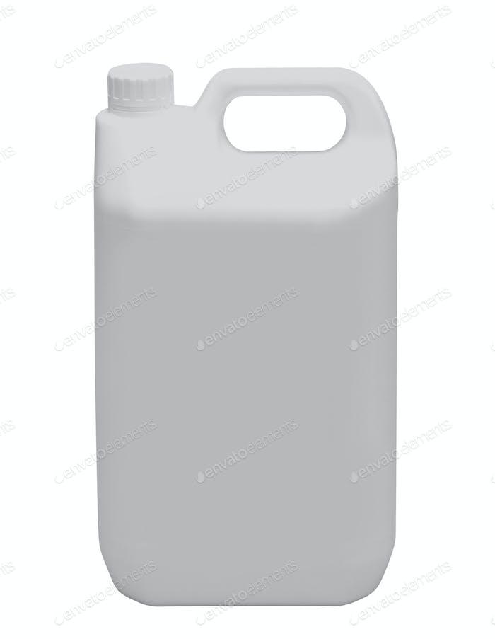 Weiße Kunststoffkanister isoliert auf einem weißen